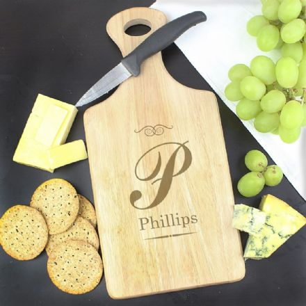 Personalised Script Initial Large Paddle Chopping Board